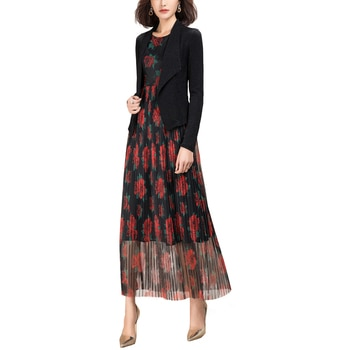 New Arrivals Women Two Piece Set Soft Jacket Coat Ladies Sleeveless Mesh Vest Dress Suits
