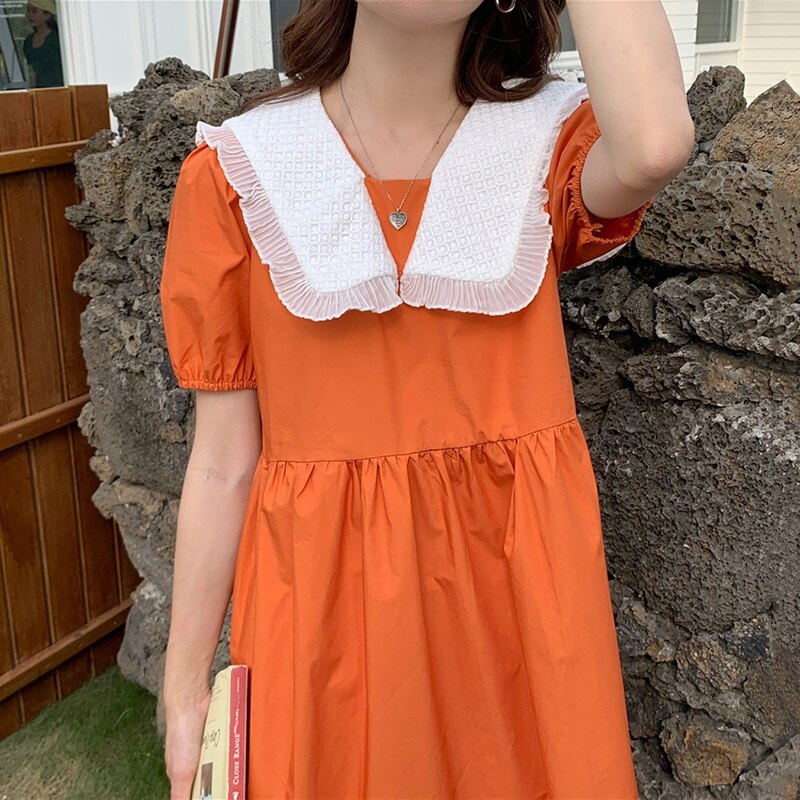 Korean Chic French Dress Gentle Heavy Dress Women Industry Baby Collar Stitching Contrast Loose Bubb