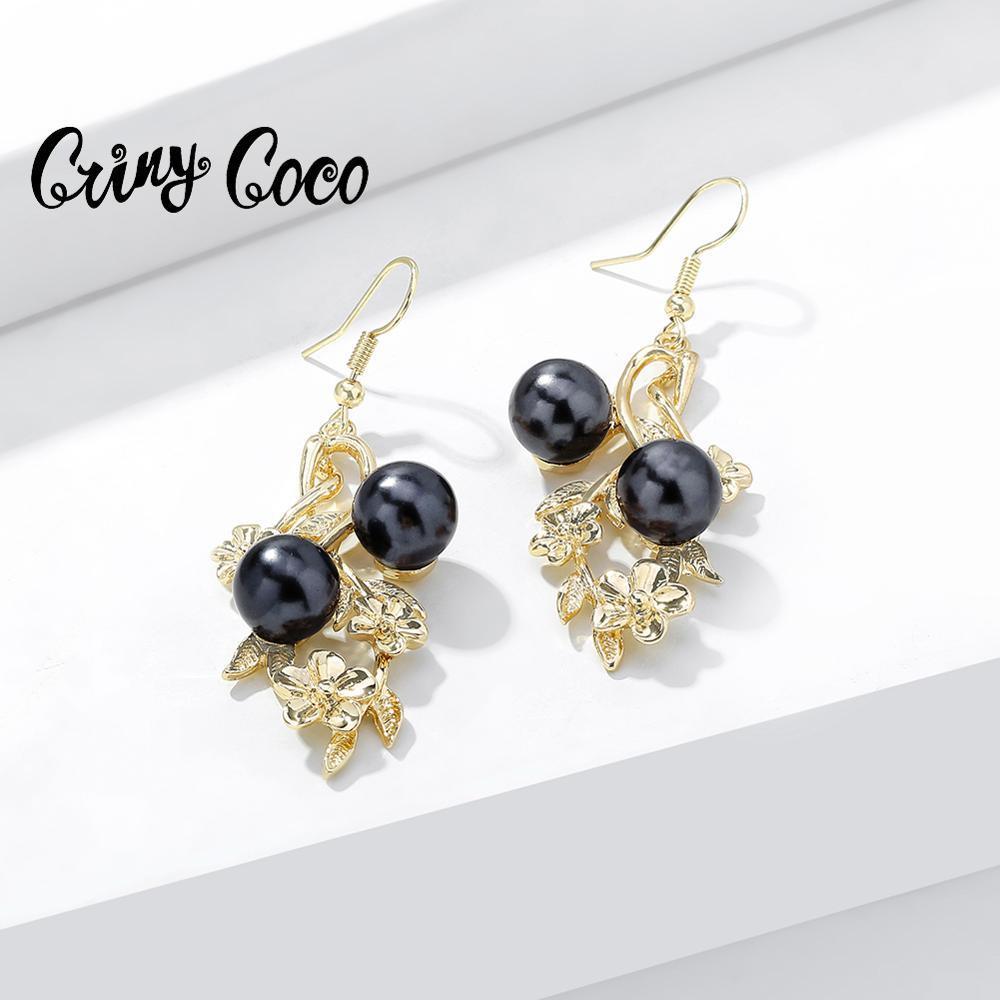 Cring Coco Frangipani Hawaiano pendientes de gota para las mujeres de moda negro perla colgante pendiente joyería boda vacaciones regalos chicas