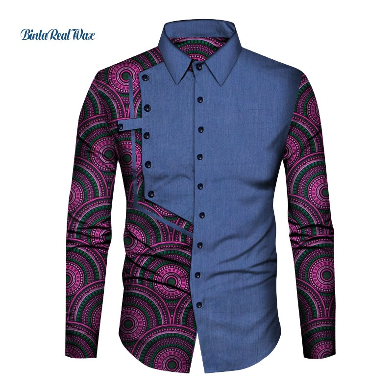 Casual Cotton Mens African Clothing Dashiki Patchwork Print Shirt Tops Bazin Riche Traditional Men Clothes WYN1210