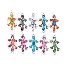 10Pcs Cute Gecko Pendant Summer Theme Mix Random Color Enamel Gecko Charm Connectors Bracelet Keychain For DIY Jewelry Making