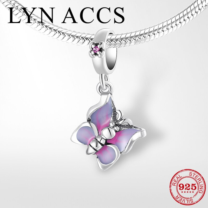 Fits Pandora Charms Necklace Bracelet Original 925 Sterling Silver Charm Pink Enamel Butterfly Pendant Beads DIY Women Jewelry