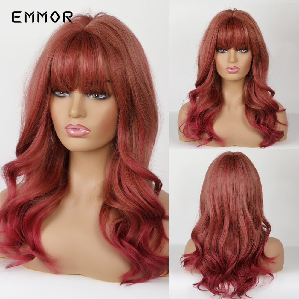 EMMOR pelucas de pelo sintético de color marrón rojizo con flequillo de color vino resistente al calor rojo Peluca de Cosplay para mujer