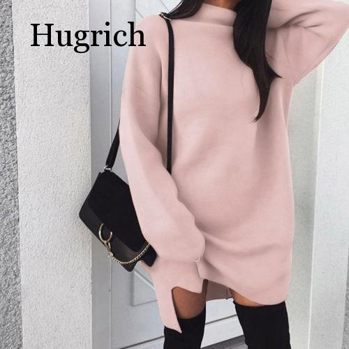 Autumn Winter Warm Long Sleeve Women Knitted Slit Sweater Dress White Turtleneck Sweaters Pullover Jumper Female Clothes super good cashmere cotton warm turtleneck mini sweater dress women winter 2019 long sleeve short dress thick clothes stretch