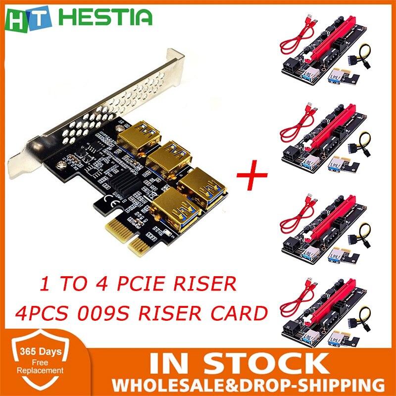 SATA 15pin 1 بدوره 4 وحدة تحكم USB صغيرة الناهض PCIE مضاعف بطاقة PCI 1x 4x 8x 16x VER 009S موسع بطاقة ل تعدين البيتكوين