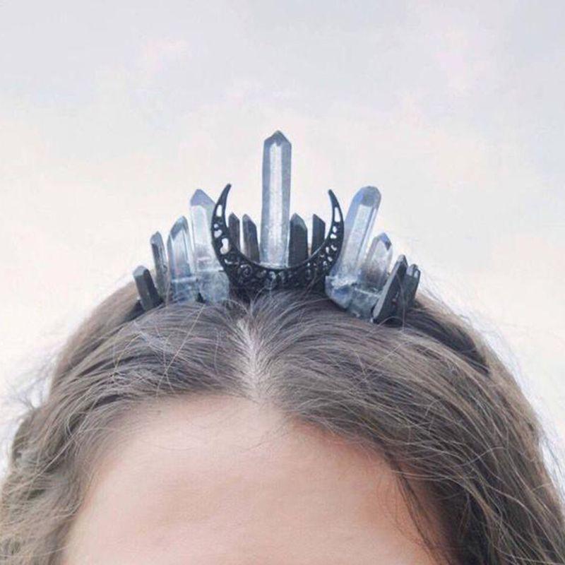 Handmade Faux Raw Crystal Headband Quartz Black Moon Bridal Alloy Tiara Crown