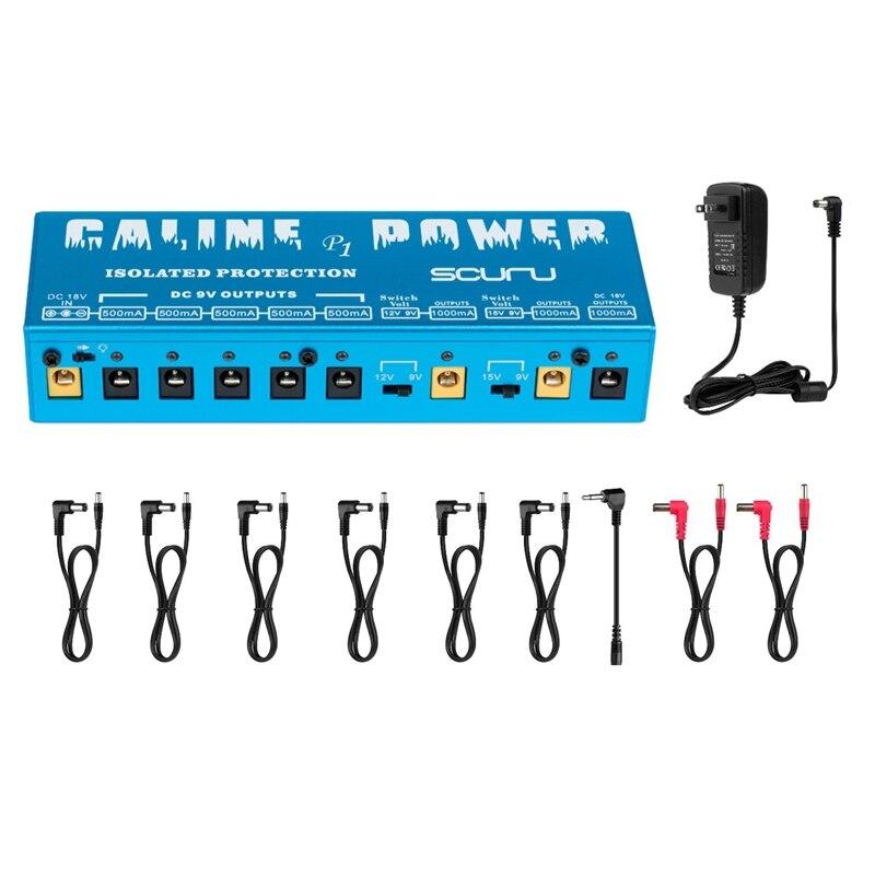Caline P1 fuente de alimentación aislada 18V 2A 36W Pedal de efectos de guitarra 8 salidas aisladas fuente de alimentación P1 azul guitarra Color Accesorios