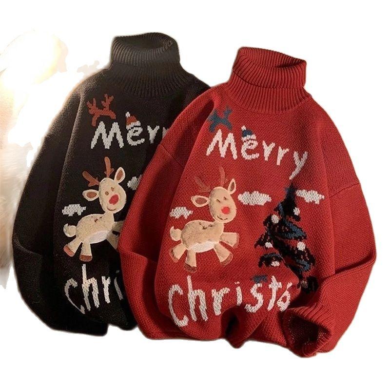 Мужской и мужской Рождественский свитер Wo с высоким воротником, Женский пуловер с оленями, свитер, верхняя одежда, свитер, праздничные костю...