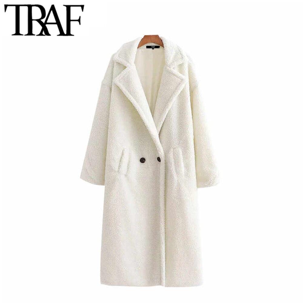 Vintage Stylish Thick Warm Faux Fur Teddy Jacket Coat Women 2020 Fashion Long Sleeve Pockets Winter Female Outerwear Chic Tops