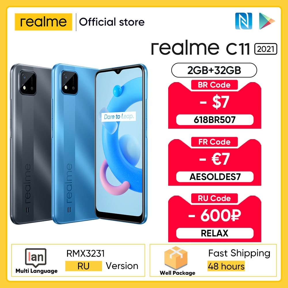 [Мировая премьера в наличии] realme C11 2021 NFC глобальной Русская версия 2 Гб Оперативная память 32GB Встроенная память 6,5 дюйм HD + 5000 мАч долгоиграющий Ба...