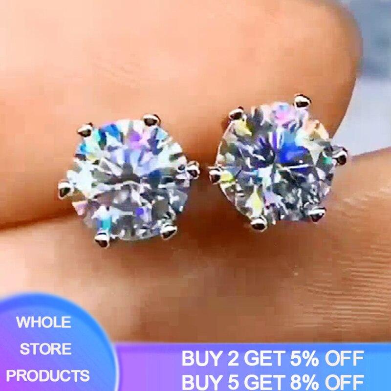 YANHUI classique Simple solide 925 argent boucles doreilles de luxe 8mm 2.0ct laboratoire diamant boucles doreilles femmes argent 925 bijoux fille cadeau E040