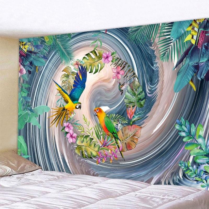 Цветы, птицы, небо, гобелены с деревьями в виде индийской мандалы гобелен настенный гобелен Бохо Спальня Настенный Ковер диван Одеяло