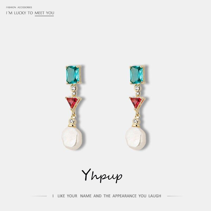 Yhpup, Pendientes colgantes de perlas naturales elegantes Vintage de moda, joyería de novia de cristal de circón brillante, accesorios para fiestas de boda femeninas