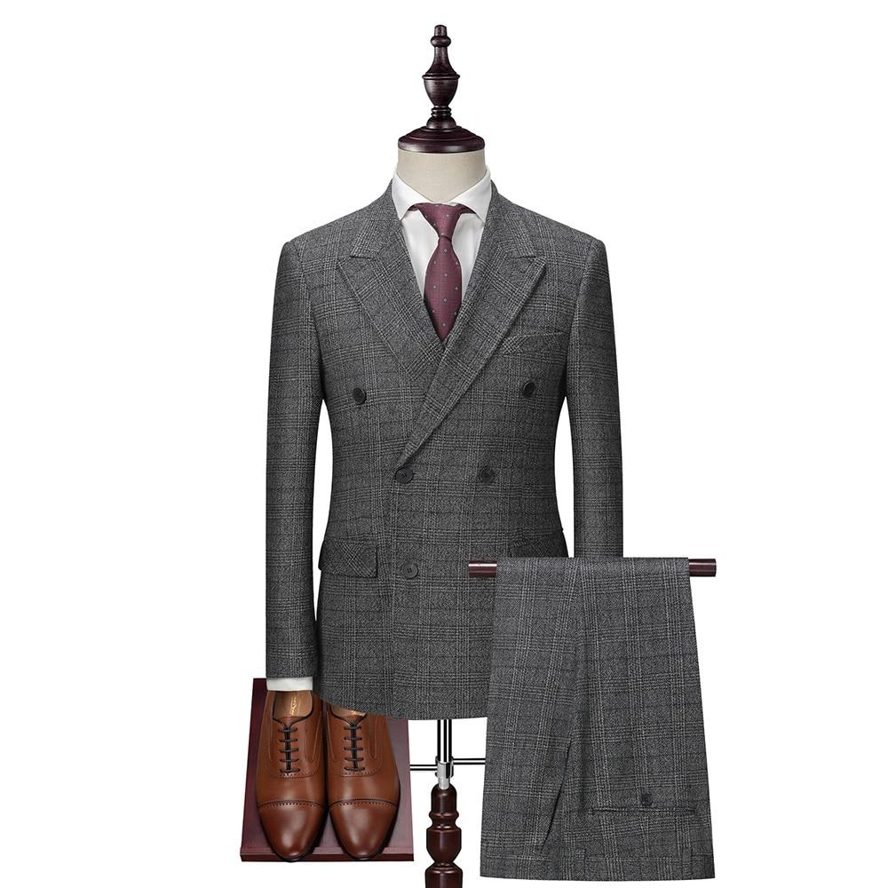 Trajes Retro Dressv gris oscuro para hombre, Blazer de manga larga con doble botonadura + chaleco + Pantalones, trajes de novio de 3 piezas para boda