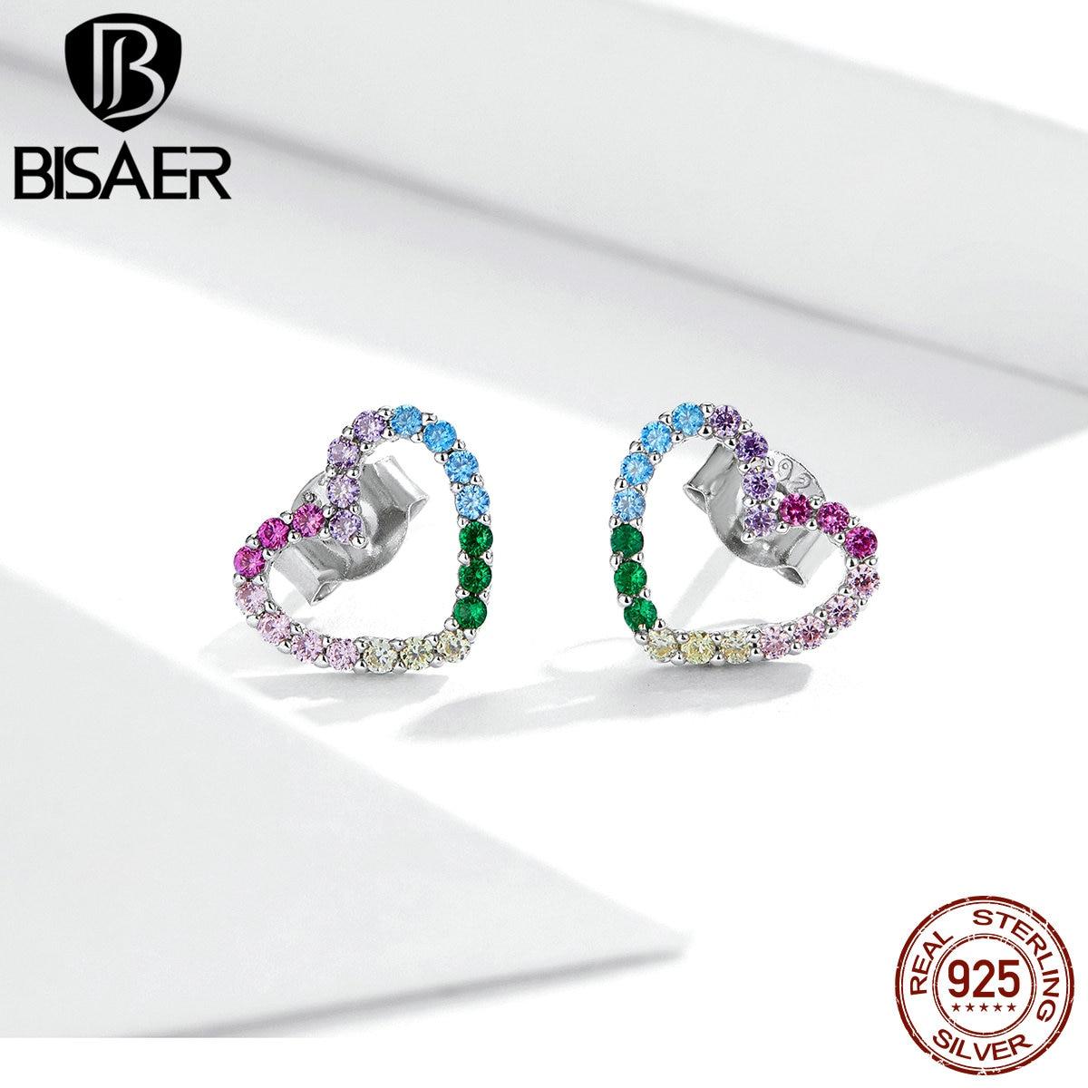 Bisaer arco-íris oco coração do parafuso prisioneiro brincos 925 prata esterlina colorido zircão pequenos brincos para mulheres jóias de luxo ece891