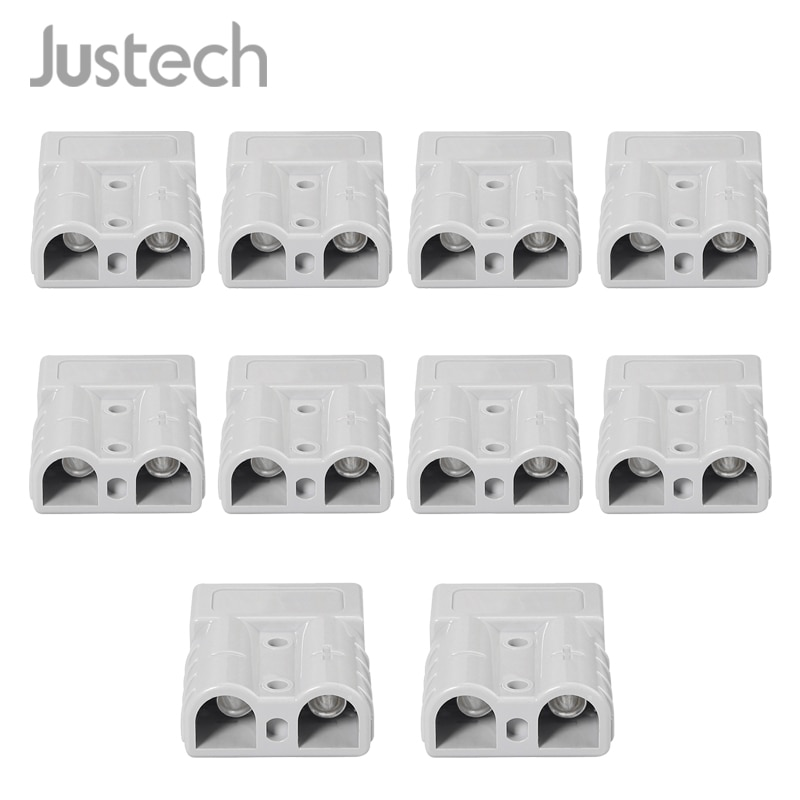 Justech 10 шт. для Anderson стиль штепсельные Разъемы 50A 600 в 6AWG посеребренные Твердые