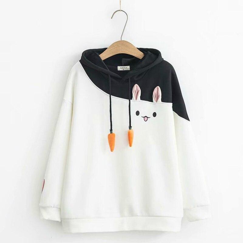 2019 Autumn Winter Sweet Style Hooded Sweatshirts Women Drawstring Carrot Patchwork Cartoon Rabbit Plus Velvet Hoodies Cute Tops