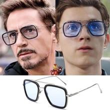 LVVKEE Hot Fashion Avengers Spider Iron Man Robert Downey jr. avec lunettes Tony Stark lunettes De soleil UV400 lunettes De soleil Oculos De Sol