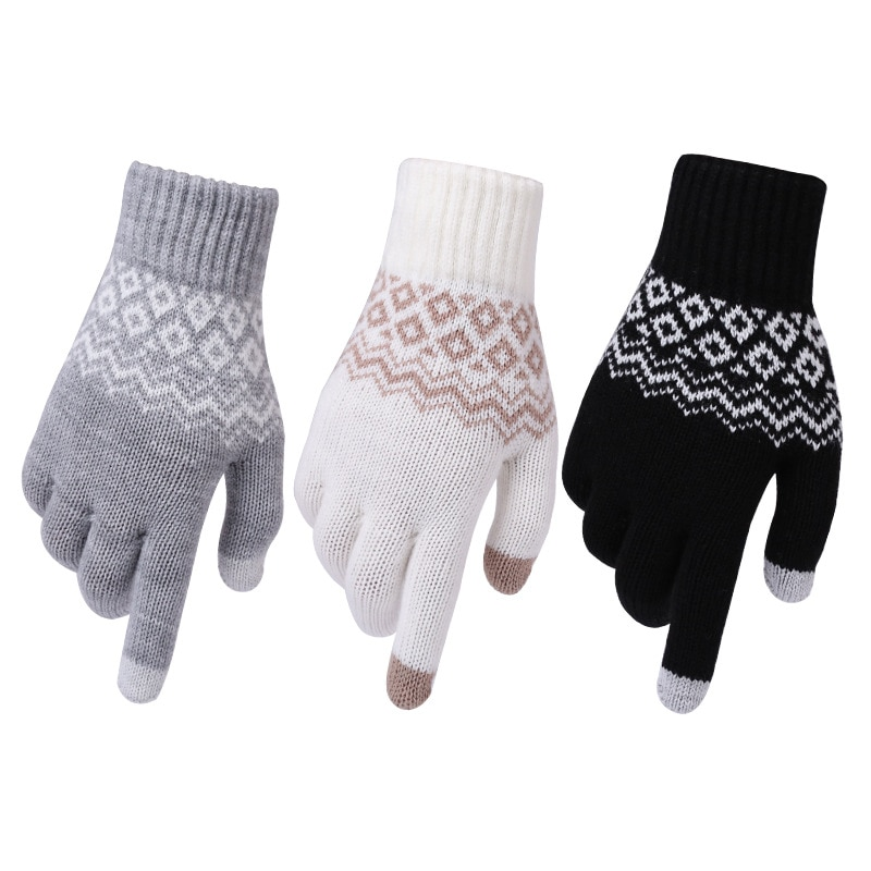 Winter Warm thick touch screen gloves Women's Cashmere wool Knitted Gloves Solid Mittens for Mobile