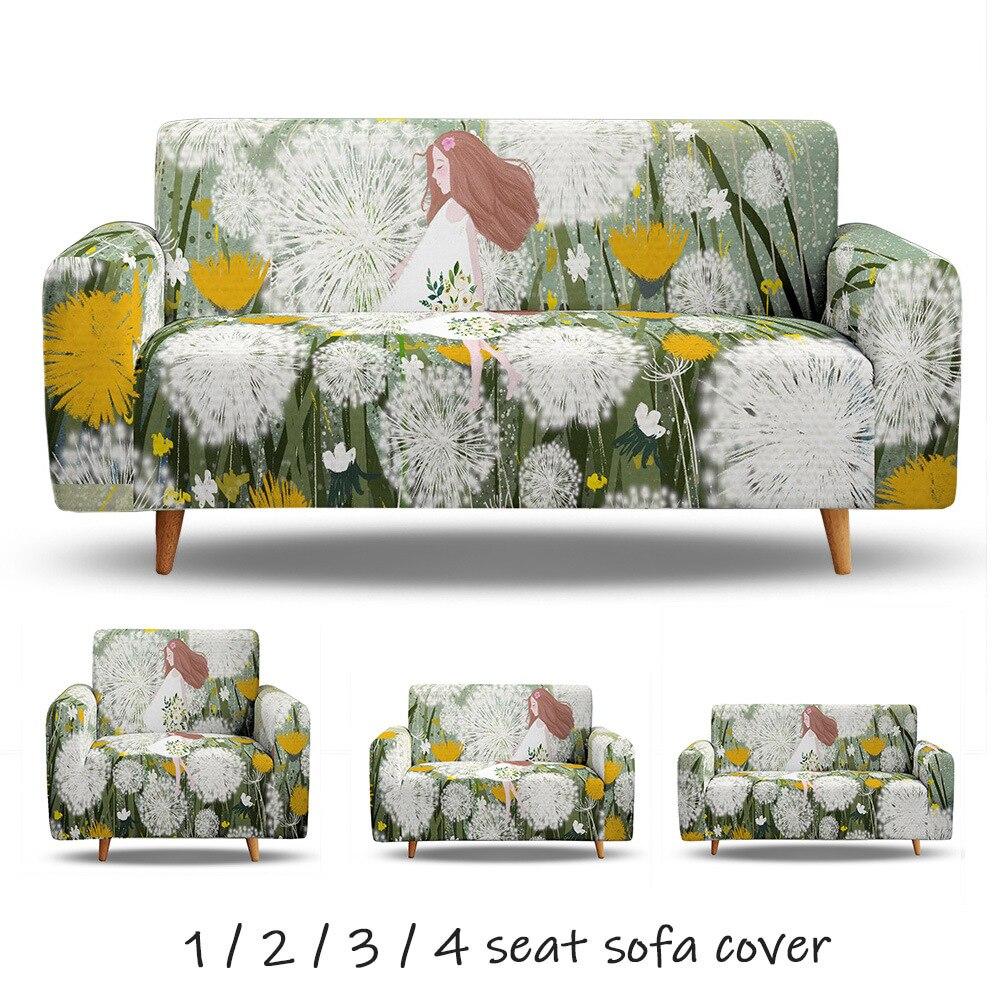 Одуванчик девочка цветок 3D печать эластичный диван Чехлы для гостиной L форма диван Чехол один два три четыре места все включено