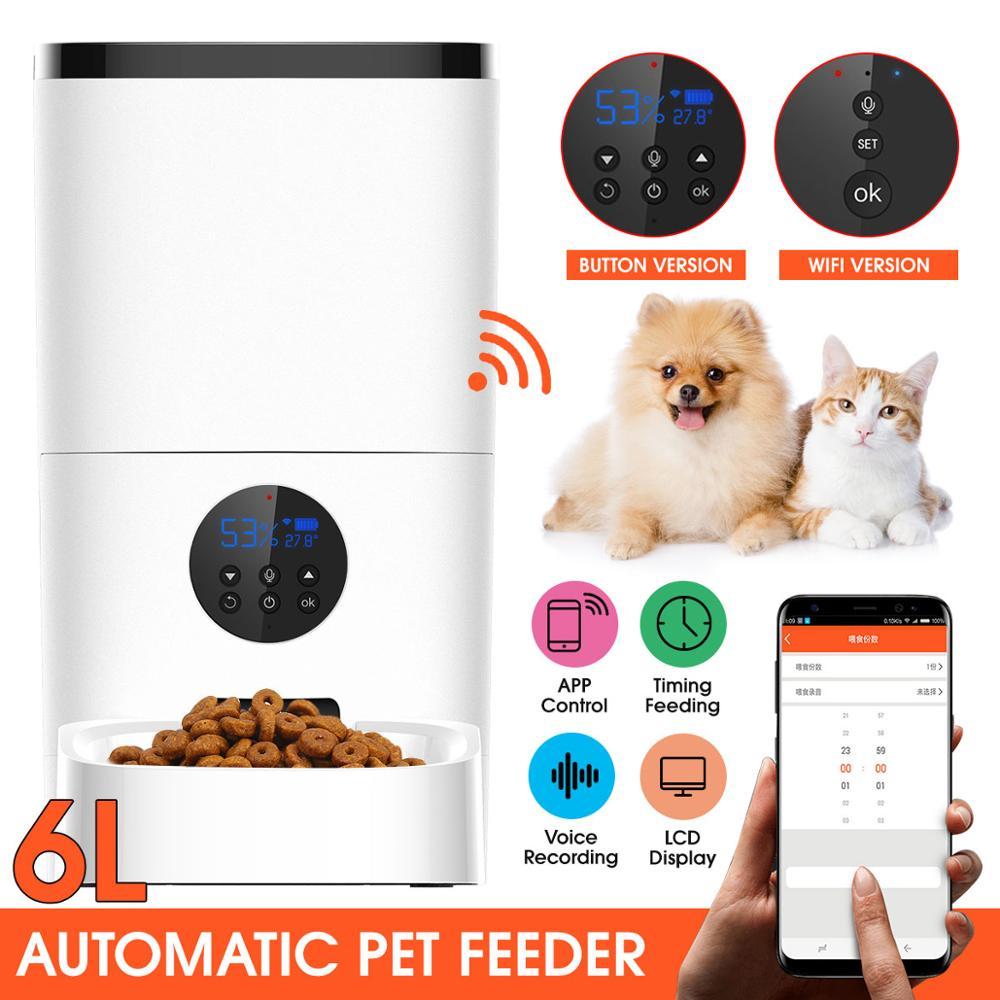 6L سعة كبيرة الحيوانات الأليفة مغذ أوتوماتيكي مسجل صوتي ذكي APP مؤقت تحكم عن بُعد تغذية القط الكلب الغذاء موزع واي فاي/زر الإصدار