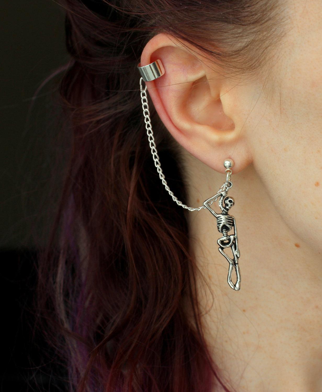 Забавные панковские висячие серьги в виде черепа, винтажные серебряные серьги-скелеты для женщин, девушек, Хэллоуина, ювелирные изделия, креативный подарок