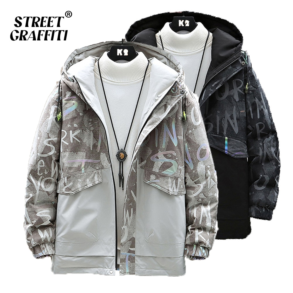 Men's Winter Warm Parkas Coat Autumn Casual Stand Collar Oversized Texture Printing Jacket Hood Thic