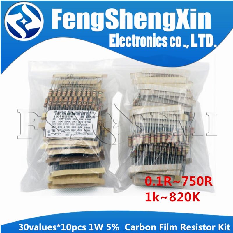 30 werte * 10 stücke = 300 stücke 1W Widerstand 5% (0,1 R ohm ~ 750R ohm) (1k ~ 820K) Carbon Film Widerstand Sortiment Kit
