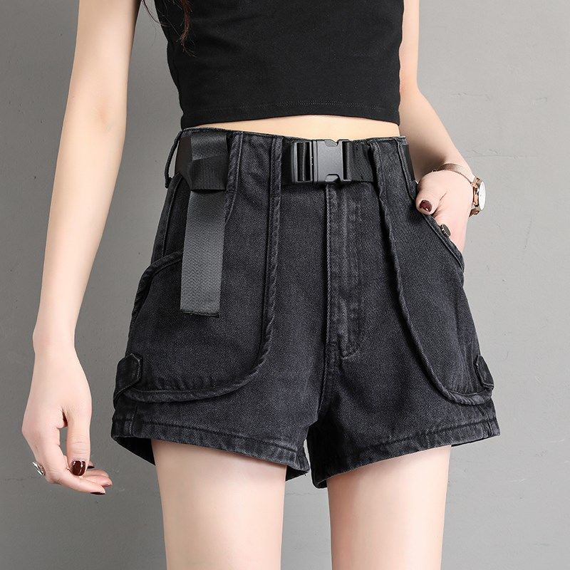 AmynickA Denim Shorts Women's Casual Women Loose High Waist Slim Summer Jeans Shorts Feminino Chic Hot Ladies Bottom Black Blue
