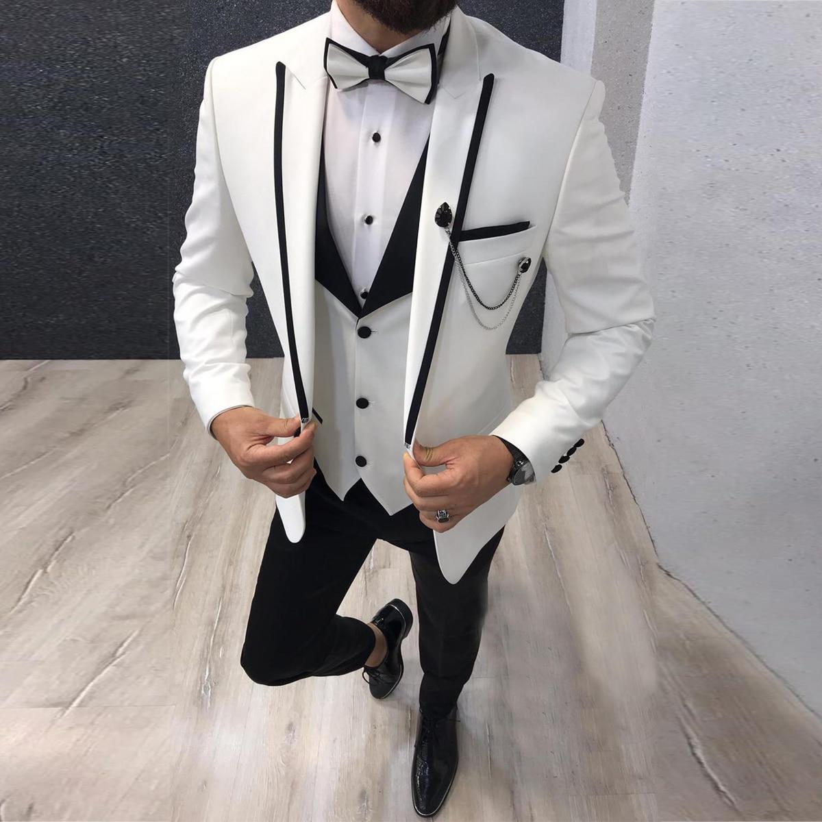 بدلة رجالية من 3 قطع بمقاس ضيق غير رسمي لرجال الأعمال لون رمادي أخضر عاجي بدلة رسمية لحفلات الزفاف الرسمية (سترة + بنطلون + سترة)