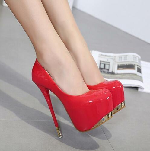 Mulheres sexy bombas dedo do pé redondo plataforma 18cm super salto alto festa stilettos sapatos
