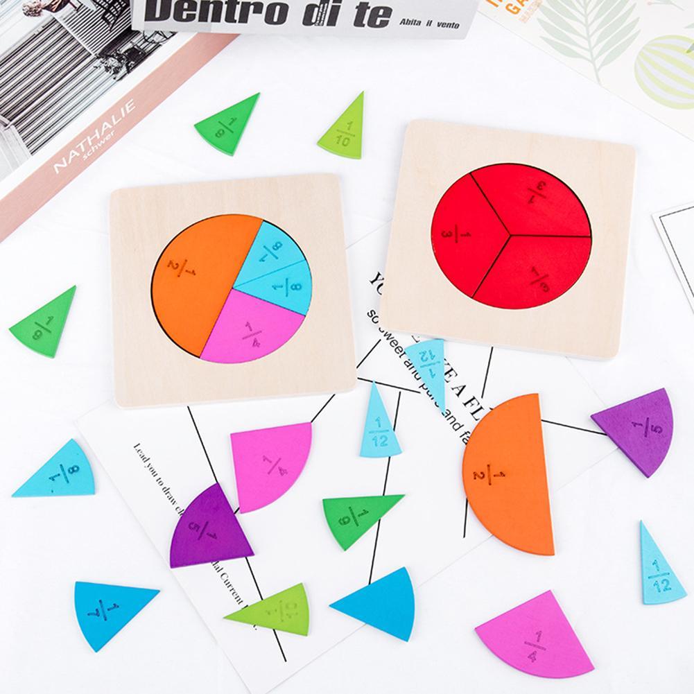 1 conjunto crianças placa de fração de madeira placa circular divisão de fração matemática ensino aids educação brinquedo