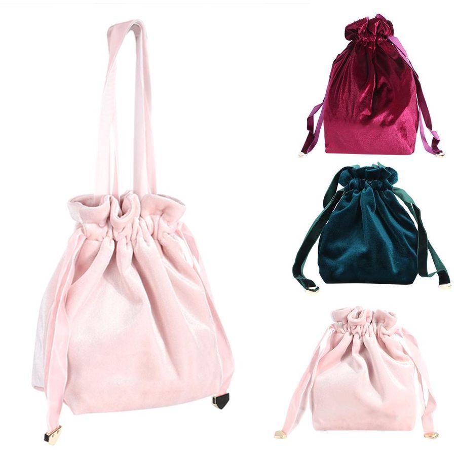 Bolsa de cosméticos de terciopelo portátil para el hogar de 3 colores, bolsa de almacenamiento con cordón para viajes al aire libre