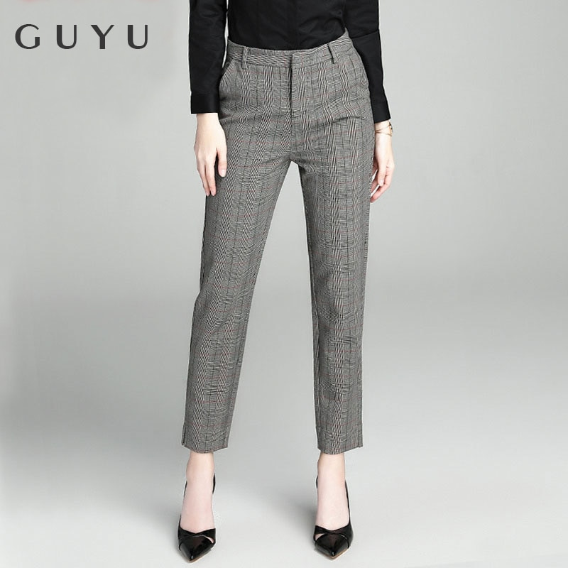 Plaid Pants Female Ankle-length Pants Spring 2020 New British Style High-waisted Pants Straight Suit