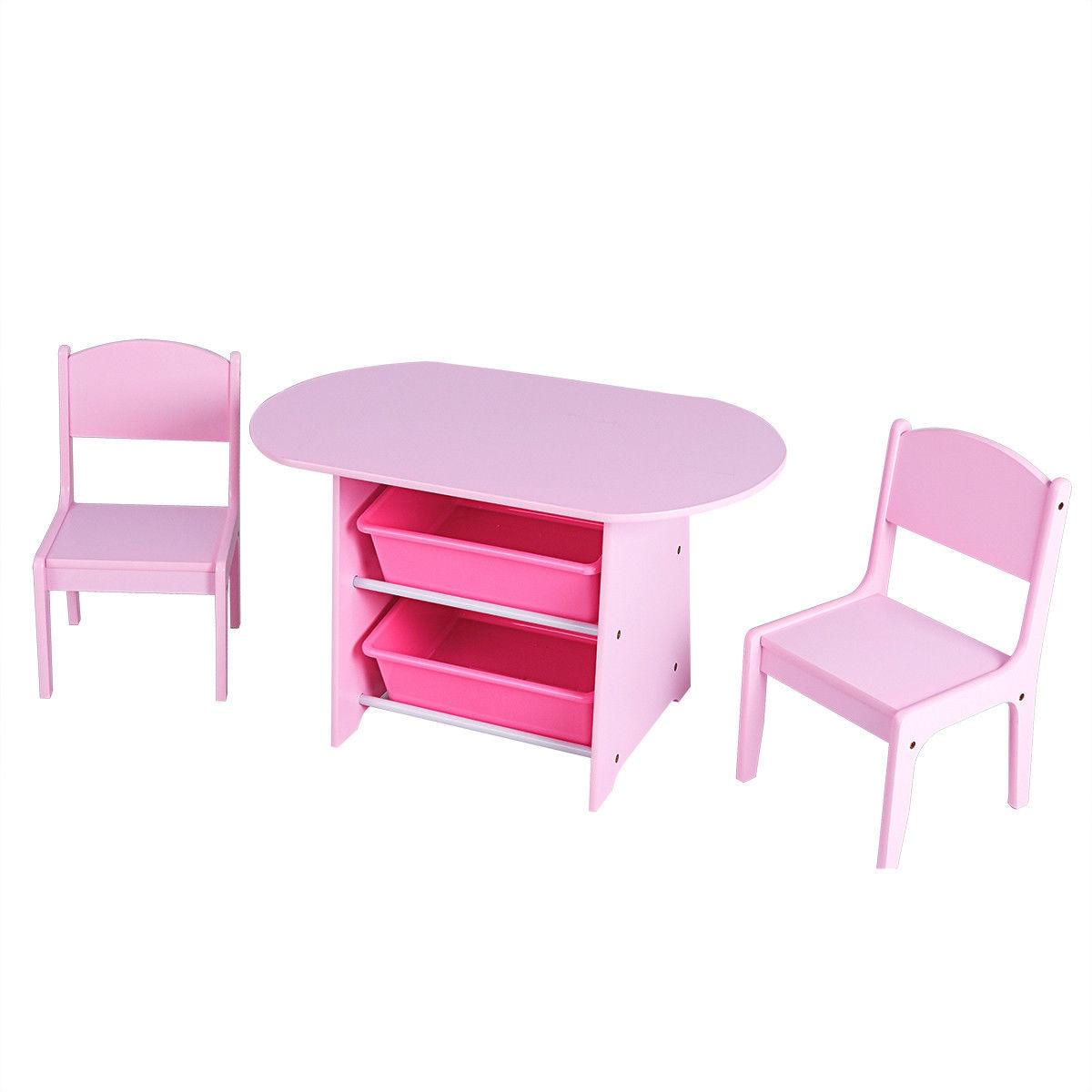 Ensemble de Table et 2 chaises pour enfants   Boîtes de rangement, cadeau pour bébés en bas âge, bureau de jeu rose