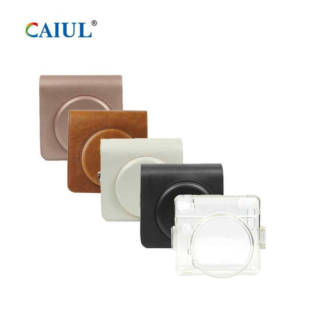Funda protectora CAIUL para Fujifilm Instax Square SQ6 marrón/dorado rubor/Negro/perla con suave bolso de cuero PU con correa de hombro