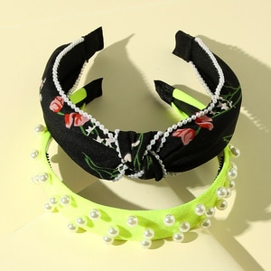 2Pcs/lot Handmade Pearl Headband Vintage Hairband Center Top Knot Floral Print Pearl Edges Hairbands Hair Accessories for Girls