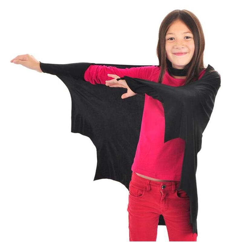 Hot Halloween Kid Fancy Black Bat Cosplay Costumes Wings For Boys Girls Children Party Vampire Performance Cloak Clothing
