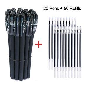 20pcs Gel Pens Set 50 Pcs Refills 0.5mm Nib Black Ink Pens for Writing Stationery for School 2021 Black Gel Pen Gift