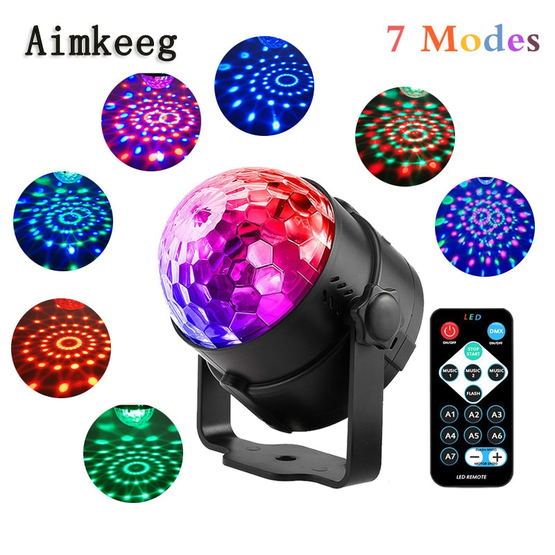 3W LED Party Stage Light RGB Laser Dj Strobe Lamp Christmas Projector Sound Activated Rotating Disco Ball Lamp for Dance Floor