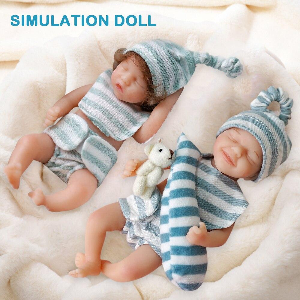 Reborn Dolls 6 Inches Full Body Reborn Dolls Lifelike  Preschool Activities Toy Silicone Mini Sleeping Baby Dolls Children Gift