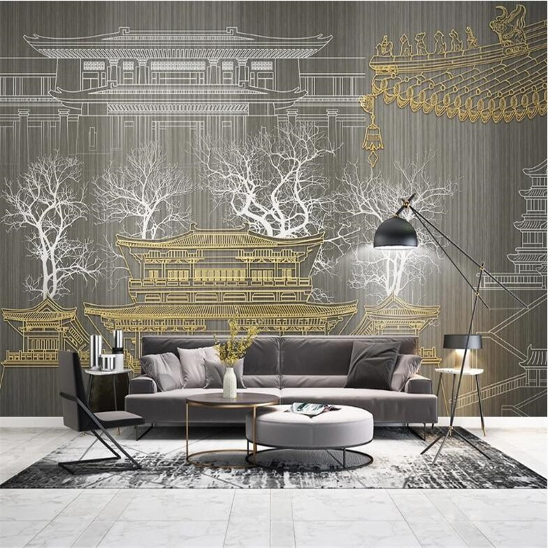 Papel pintado 3d personalizado mural nuevo estilo chino línea DE RELIEVE dorado antiguo sofá tv Fondo mural