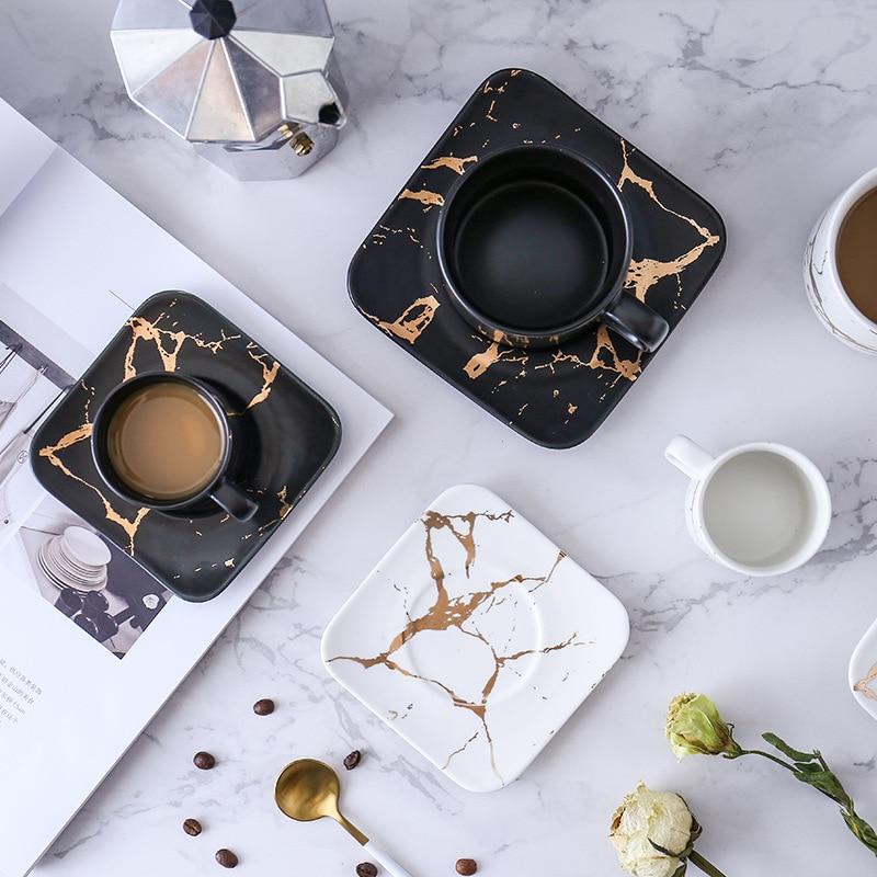 Marbling oro mate productos serie estilo japonés negro y blanco taza y platillo caso taza de té taza de café de vidrio