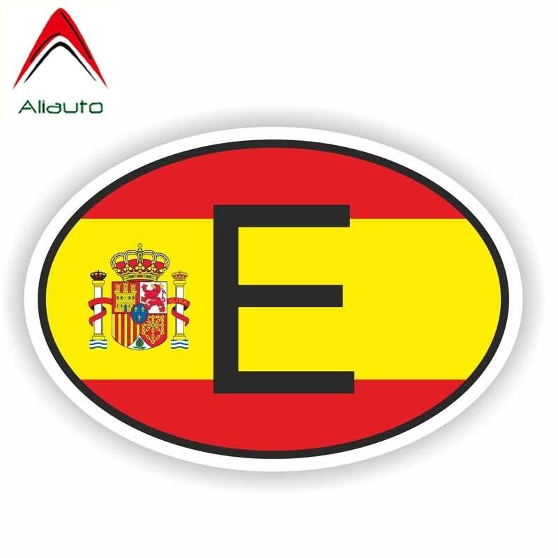 Aliauto personalidad etiqueta engomada del coche divertido E España código de país de la motocicleta protector solar impermeable anti-UV Etiqueta de PVC 17cm * 11cm