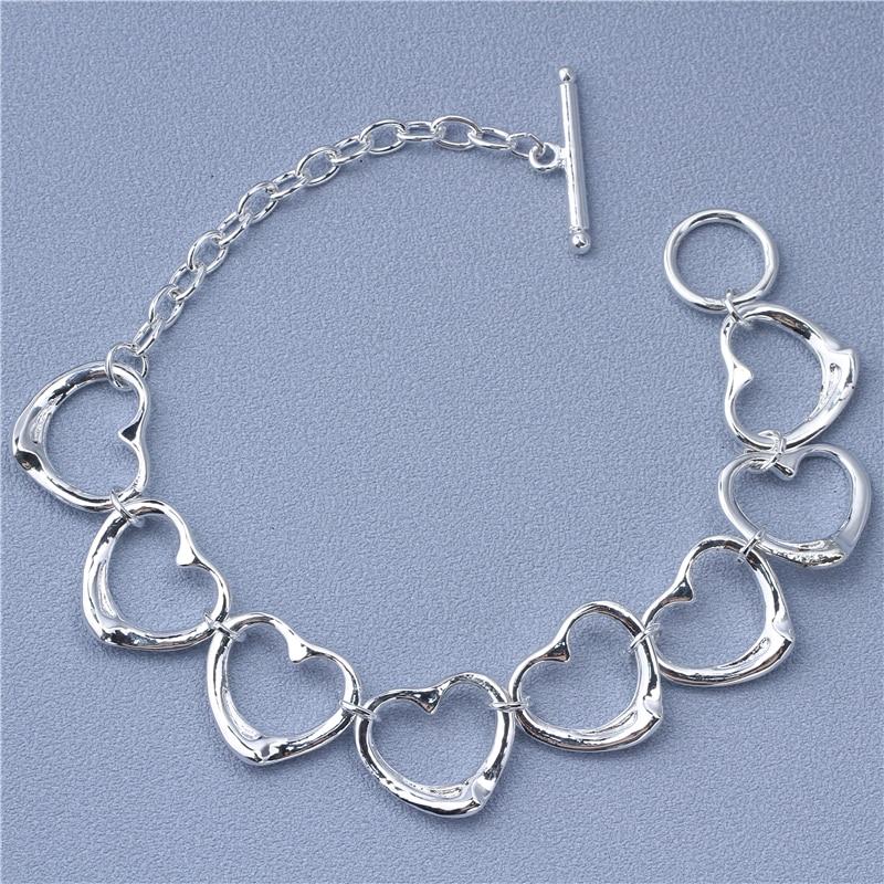 Pulsera colgante de corazón de Color a la moda para mujer, cierre de cierre ajustable, cadena de eslabones de mano de 9,2 pulgadas
