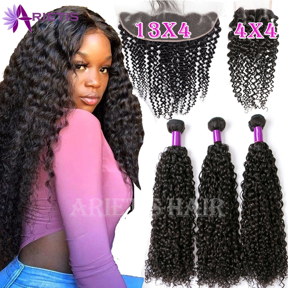 36 38 40 Long inch Curly Human Hair Bundles With Closure Brazilian Remy Bundles With Frontal Deep Water Curly & 4x4 Lace Closure