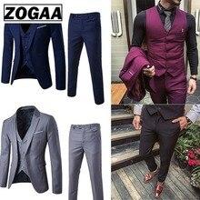ZOGAA Männer Kleid Anzüge Fashion Business Slim Fit Hochzeit Bräutigam Anzüge Reine Farbe 3 Stück Anzüge Männer Casual Anzüge plus Größe 5XL