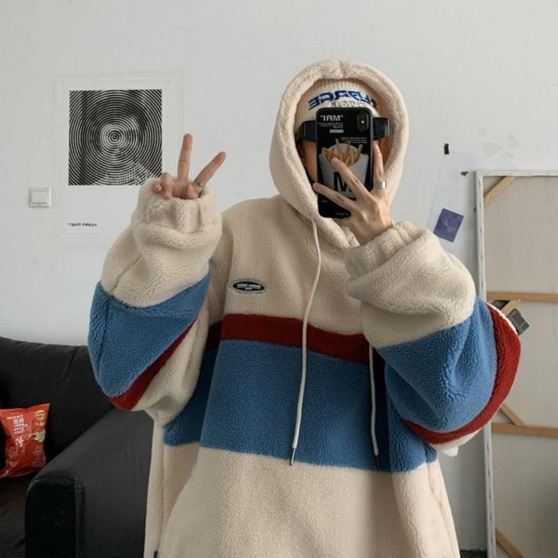 Толстовка мужская флисовая с капюшоном, свободная кофта, модный Повседневный пуловер в полоску, в стиле пэчворк, в корейском и японском стил...