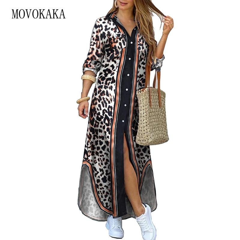 MOVOKAKA Fashion Leopard print Women Dress 2021 Casual Plus Size Robe Long Sleeve Dresses Woman Eleg
