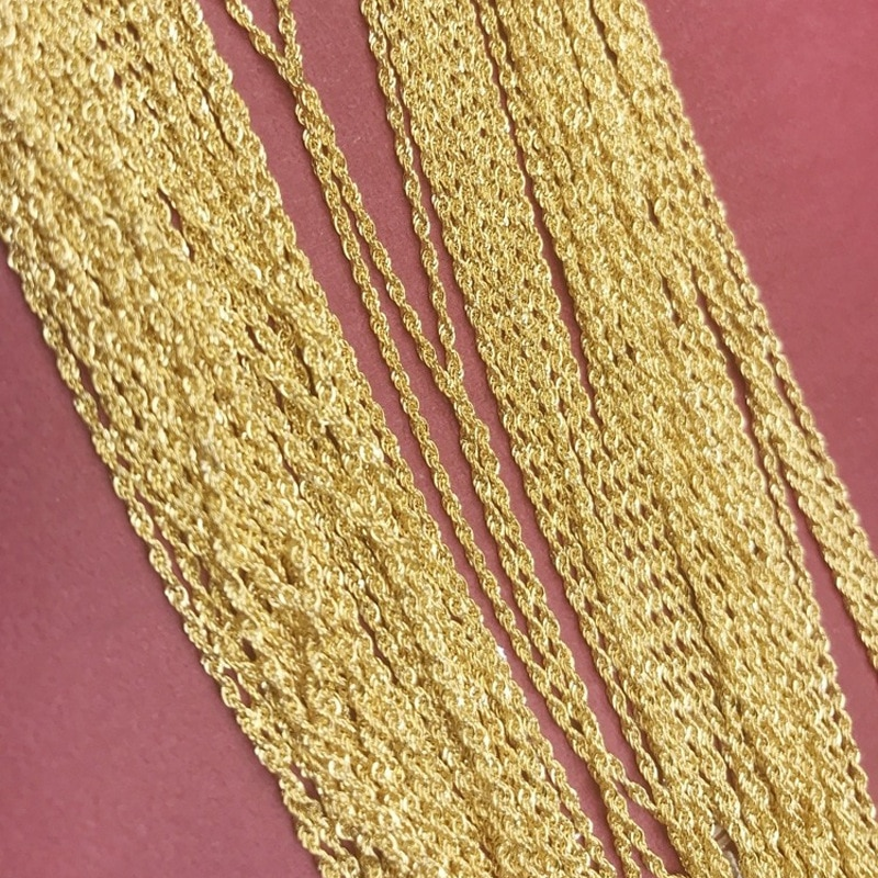 Genuine 18k Gold Twisted Chain Simple Temperament Style Rope Chain AU750 Real Gold Hemp Rope Necklace Woman Gift Fine Jewelry